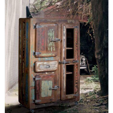 Tall Industrial Cabinet Vintage Display Unit Large Rustic Wood Storage Sideboard