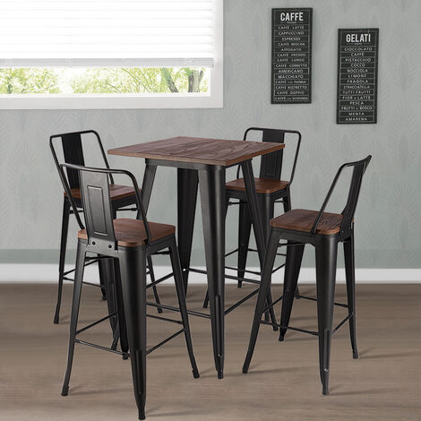 Tall Industrial Wood Top Bar Stool Set Metal Bar Table Indoor Outdoor Cafe Bistro Chairs