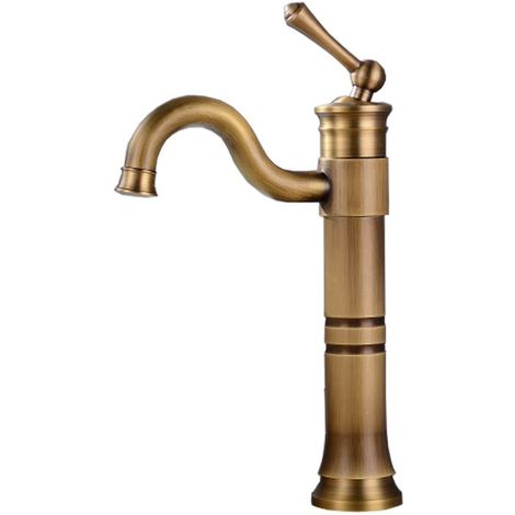 Tall Retro Antique Brass Basin Sink Tap Faucet Single Lever