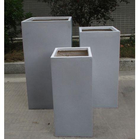 Tall Square Contemporary Grey Light Concrete Planter H60 L27 W27 cm