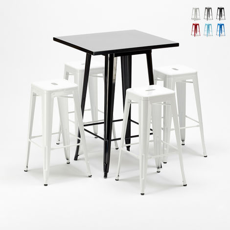 Tall table and 4 metal stools Tolix style industrial NEW YORK bar pub