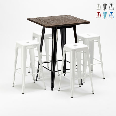 Tall table set and 4 metal stools Tolix industrial style LITTLE ITALY