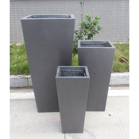 Tall Tapered Contemporary Grey Light Concrete Planter H50.5 L24.5 W24.5 cm