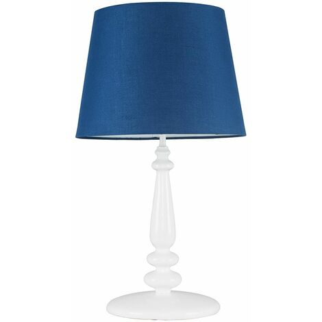 Tall White Spindle Table Lamp + Navy Blue Light Shade + 6W LED Gls Bulb Warm White