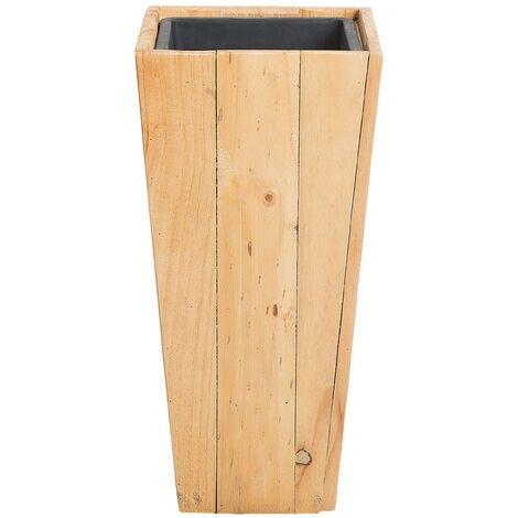 Tall Wooden Planter Pine Solid Wood Natural Plastic Insert 24 x 24 cm Larisa
