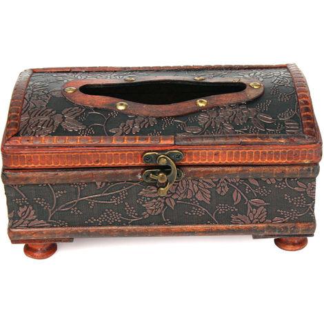 Talla única: 20.7X11.8X11Cm Elegante patrón de anillo de cobre de madera retro Caja de almacenamiento de papel de papel de papel de madera Hasaki