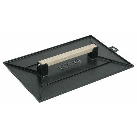Taloche PS noir rectangulaire- plateau alvéole - manche bois - 35 x 27