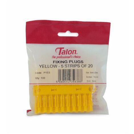 Talon Yellow 5mm Wall Rawl Plugs Plastic Fixing Plugs Euro Slot X100 Pack P1ES