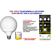 TALOX BOMBILLA LED GLOBO G120-18W G120E2718W 3000 K LUZ AMARILLA