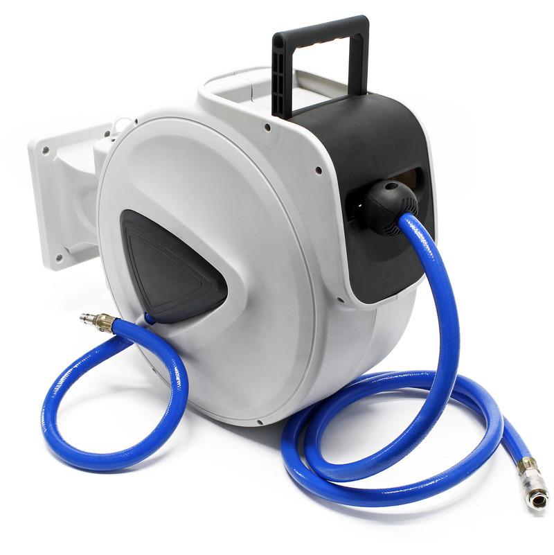 Carrete de manguera aire comprimido 20m Enrollador automático de manguera neumática para compresor
