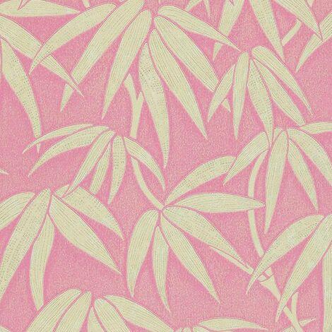 Tamika Floral Wallpaper Pink Beige Blush Botanical Metallic Shimmer Harlequin