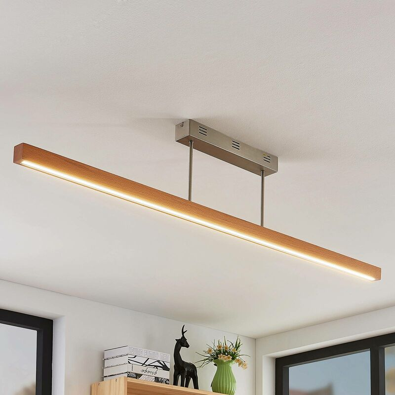 Image of Ceiling Light 'Tamlin' dimmable (modern) in Brown made of Wood (1 light source, A+) from Lucande | ceiling lamp, lamp