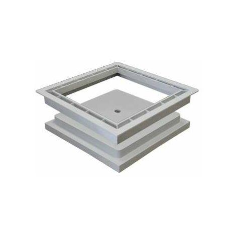 Tampon creux + cadre 30 x 30cm pour regard de collecteur des eaux pluviales en polypropylène renforcée