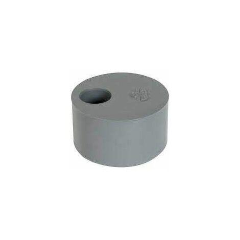 Tampon de réduction incorporée PVC mâle 125mm, femelle 32mm.
