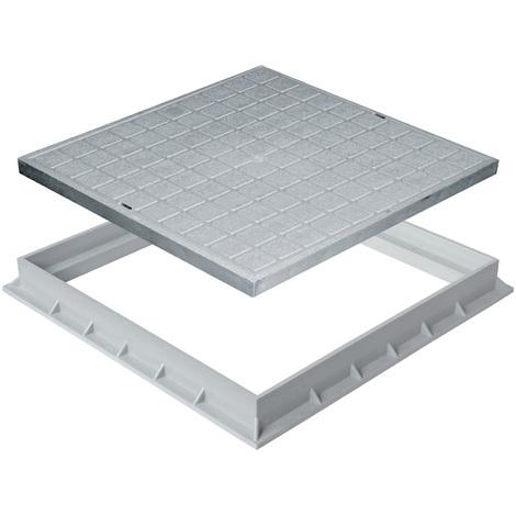 Tampon de sol polypropylène avec cadre 300x300mm - Gris