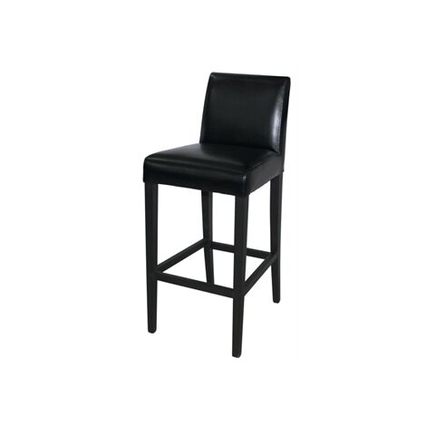 Tania Bar Stool - Pair Of Wood Frame Black Faux Leather
