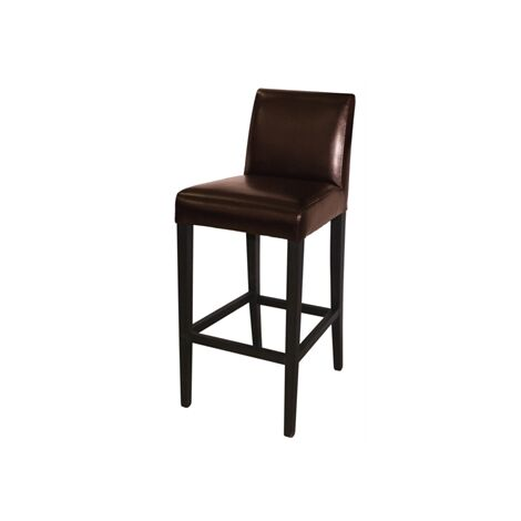 Tania Bar Stool - Wood And Faux Leather Wooden Frame Fully Assembled