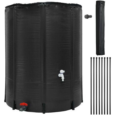 Tanque de agua recolección lluvia plegable barril exterior con grifo 500L negro