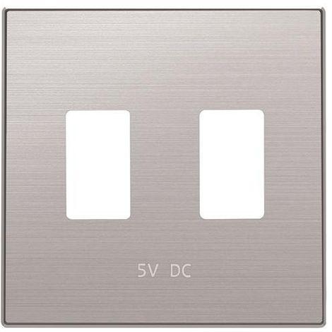 Tapa cargador doble USB acero inox Niessen Sky 8585.3 AI