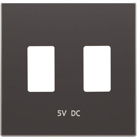 Tapa cargador doble USB negro soft Niessen Sky 8585.3 NS