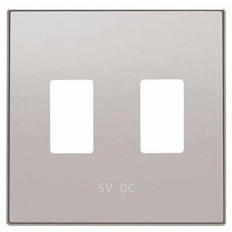 Tapa cargador doble USB plata Niessen Sky 8585.3 PT