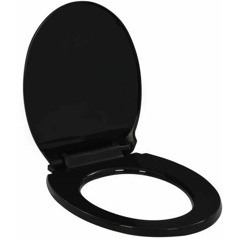 Tapa de inodoro de cierre suave y desenganche rápido negro