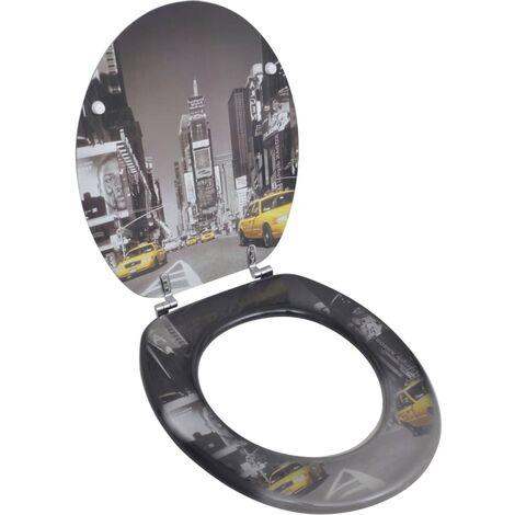 Tapa de wc de madera MDF, con modelo de Nueva York