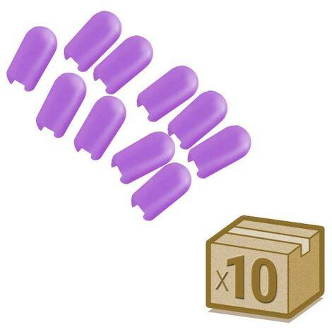 Tapa NEON silicona 6x12mm color violeta, interior, pack 10pcs