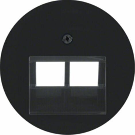 Tapa para toma doble telefono o datos Berker by Hager 14092045 serie R1 Y R3 color negro brillo