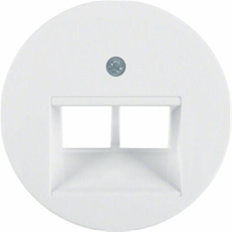 Tapa para toma doble telefono o datos Berker by Hager 14092089 serie R1 Y R3 color blanco polar brillo
