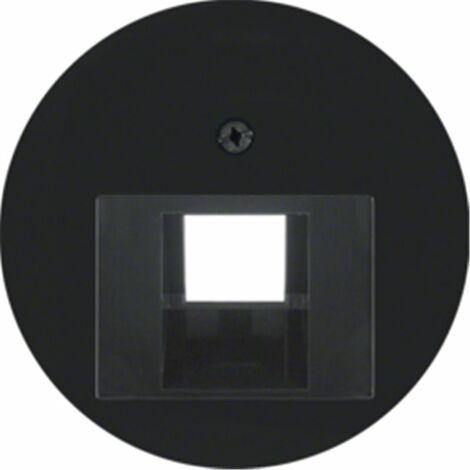 Tapa para toma simple telefono o datos Berker by Hager 14072045 serie R1 Y R3 color negro brillo