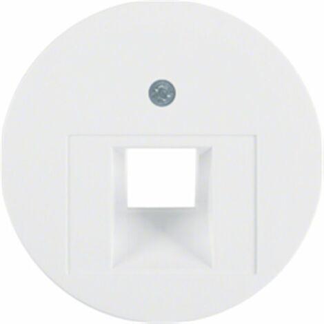 Tapa para toma simple telefono o datos Berker by Hager 14072089 serie R1 Y R3 color blanco polar brillo