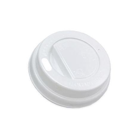 Tapa Plástico Blanca Alta para Vaso Papel 12oz con Agujero 100 Unidades