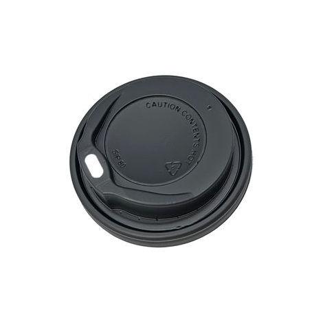 Tapa Plástico Negra Alta para Vaso Papel 12oz con Agujero 100 Unidades
