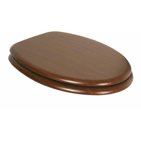 Asiento WC TATAY en MDF, con acabado efecto madera, de superficie lisa y facil mantenimiento
