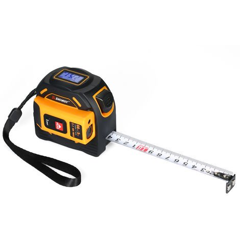 Tape measure laser rangefinder white yellow random delivery without battery