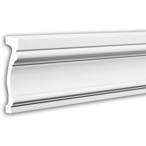 Tapeta Profhome 484052 Perfil de fachada Perfil de estuco Elemento de fachada estilo Neoclasicismo blanco 2 m