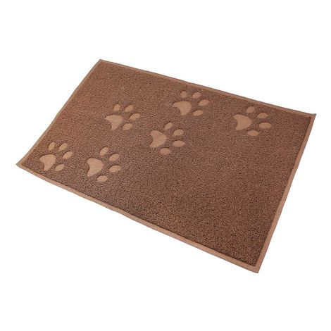 Tapete Impermeable para Animales, Alfombra Para Arena de Gatos, 90 x 60 cm, Marrón, Tamaño plegado: 31,5 x 13 x 13 cm