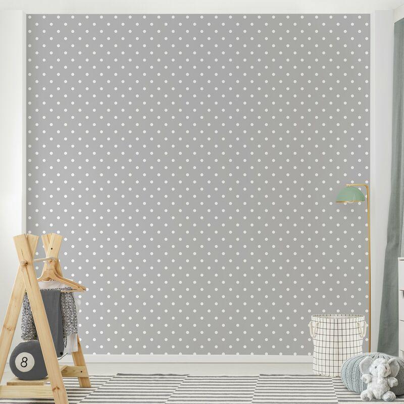 Fabulous Tapete Punkte - Weiße Punkte auf Grau - Muster Vliestapete Quadrat PL58