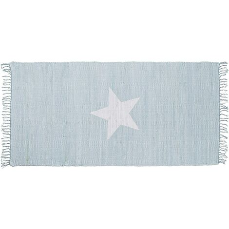 Tapis à franges avec motif étoile 70 x 140 cm tissé main 100% coton salon couloir bleu - Bleu