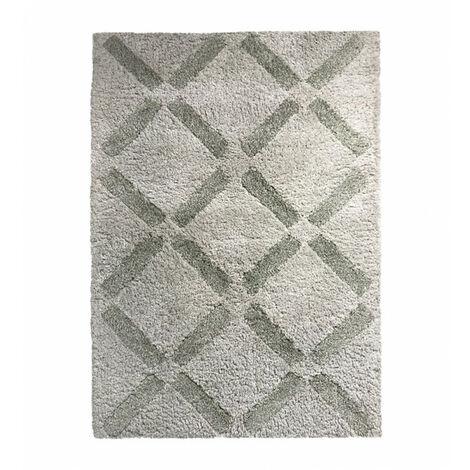 Tapis 160x230 beige losanges pointillés verts - ANGE 4085 - Beige