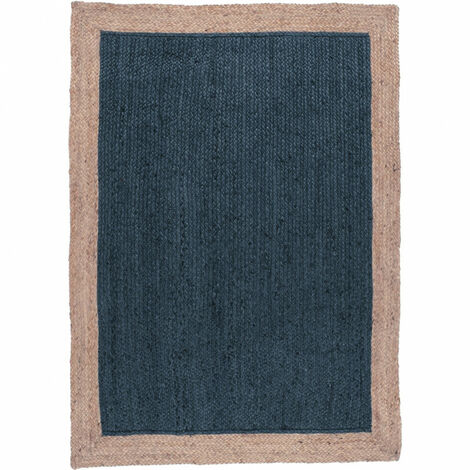 Tapis 160x230 cm en jute naturelle et teinté bleu - Capri - bleu
