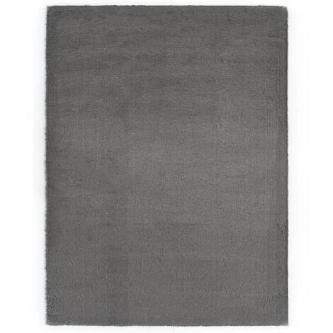 Tapis 160x230 cm Fausse fourrure de lapin Gris foncé - gris