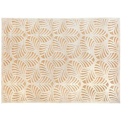 Tapis 160x230 relief feuille - Beige
