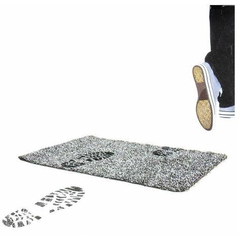 Tapis 2 en 1 ultra absorbant et antidérapant en coton - L 60 x l 40 x H 0,5 cm - Noir