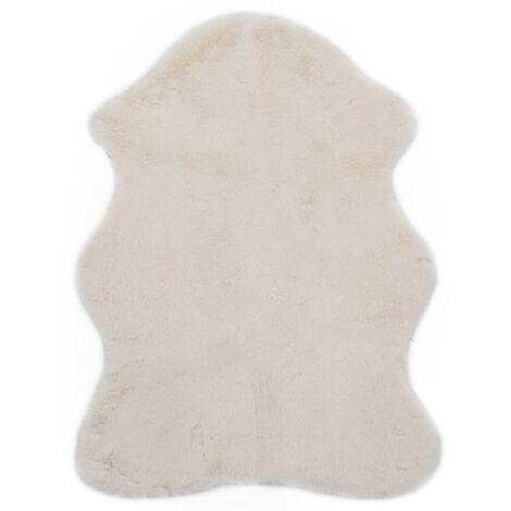 Tapis 65 x 95 cm Fausse fourrure de lapin Crème