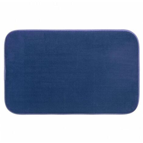 Tapis à mémoire de forme rectangulaire - 50 x 80 cm - Bleu foncé