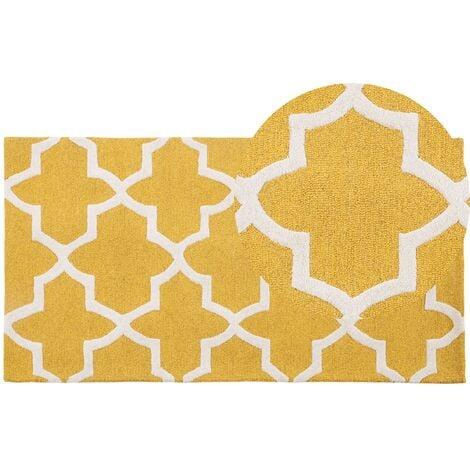 Tapis à poil court jaune avec des motifs classiques 80x150 cm