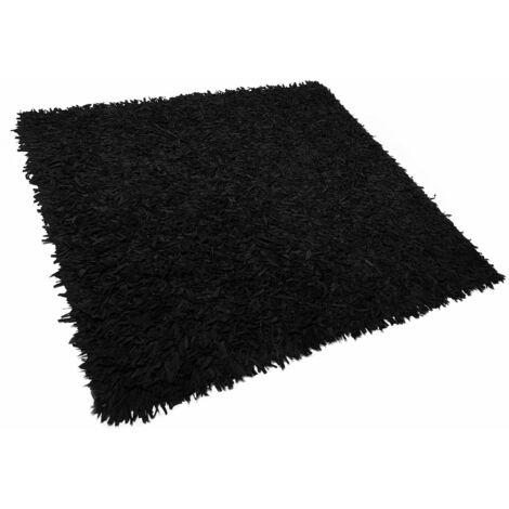 Tapis à poil long moderne en cuir noir 200 x 200 cm