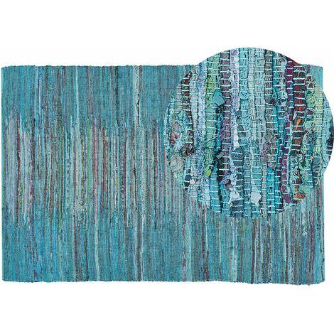 Tapis à poil ras bleu en coton 140x200 cm